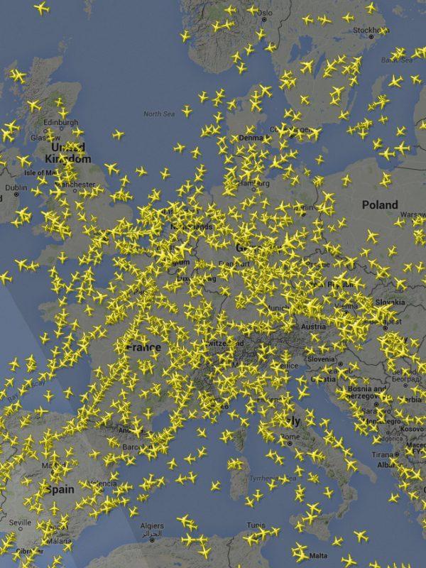 Sledování letadel - flightradar24