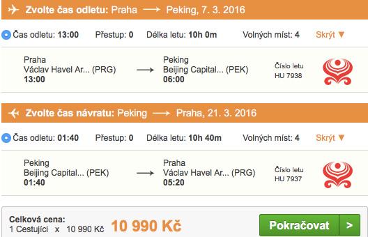 Letenky do Číny přímo z Prahy