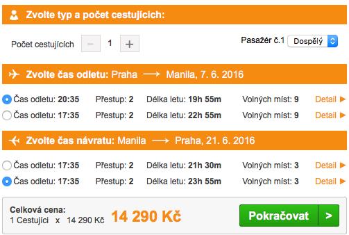 Letenky na Filipíny z Prahy, výběr termínů