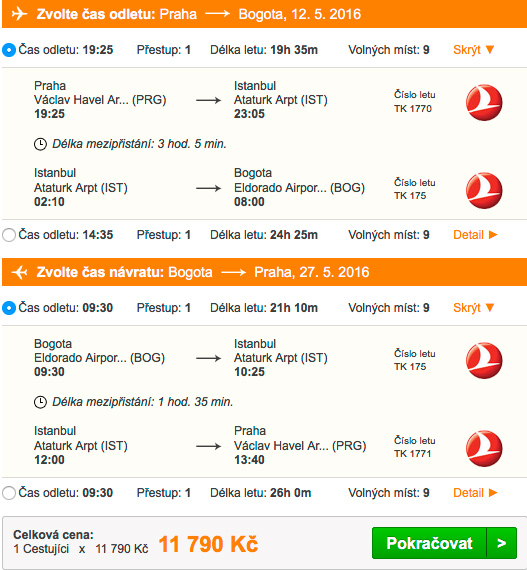 Letenky do Kolumbie - 11 790 Kč