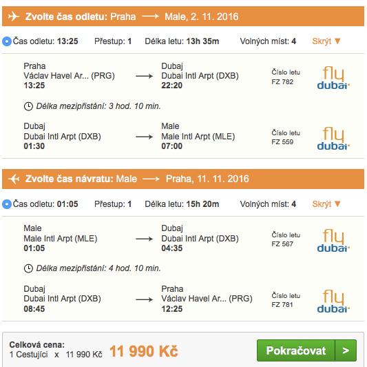 Letenky na Maledivy - akce FlyDubai