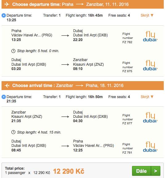 Letenky na Zanzibar zPrahy