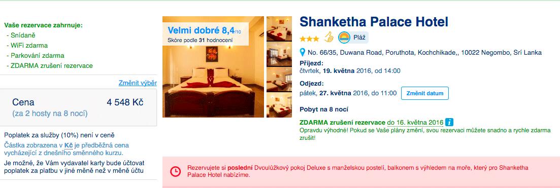 Dovolená na Srí Lance, hotel na Srí Lance přes Booking