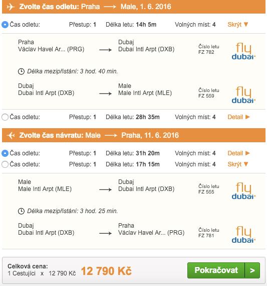 Letenky na Maledivy, Pelikán 12 790 Kč