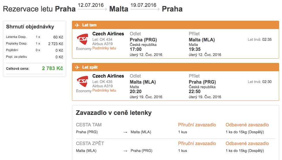 Letenky na Maltu sČSA